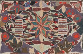 Vibrant American Hooked Rug, Early 20th C., Wit