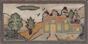 American Hooked Rug, Early 20th C., With A Land
