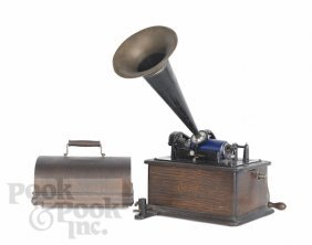 Oak Edison Victrola, Model H, With A Tin Horn.