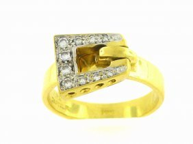 Vintage Cartier 18k Yellow Gold Diamond Enamel Ring