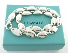 Tiffany & Co. Sterling Silver Oval Pebble Necklace