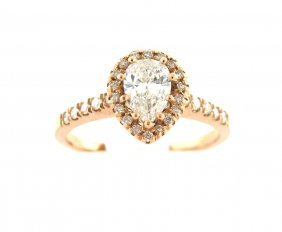 Egl E Si2 14k Rose/g Diamond Solitaire Engagement Ring