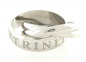 Cartier 18k White Gold Ring Et Amour Or Trinity Heavy