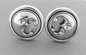 Kieselstein Cord Sterling Moon Clip On Earrings
