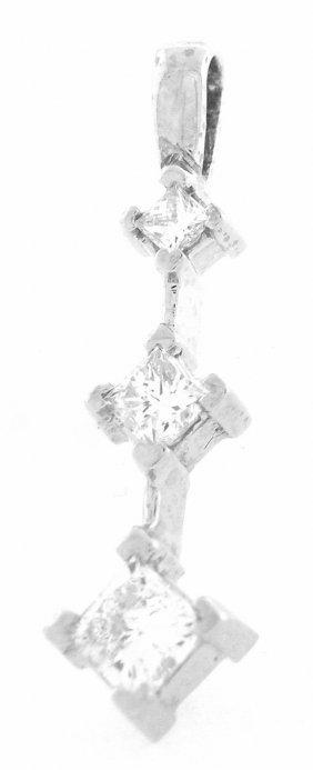New 14k White Gold Diamond Journey Pendant