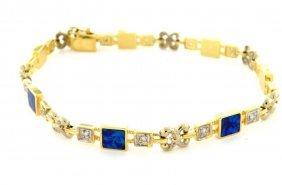 Estate 14k Yellow Gold Opal & Diamond Fancy Bracelet