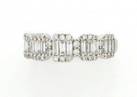 14k White Gold Diamond Baguette & Round Diamond Ring