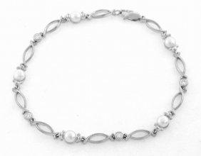 14k White Gold Pearl & Diamond Filigree Tennis Bracelet