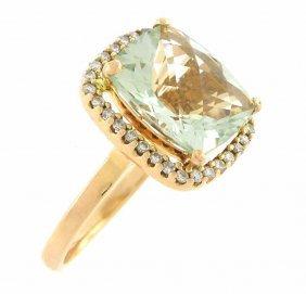 Estate 14k Rose Gold Green Amethyst & Diamond Ring
