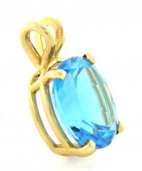 New 14k Yellow Gold Blue Topaz Pendant 11ct