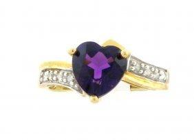 10k Yellow Gold Diamond Amethyst Ladies Cocktail Ring