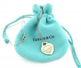 Tiffany & Co. Silver Blue Enamel Heart Necklace