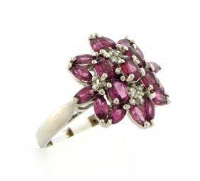 10k White Gold Diamond Tourmaline Flower Ring