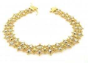 New 18k Two Tone Ladies Bracelet Solid, Heavy