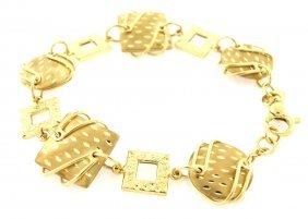 14k Yellow Gold Ladies Bracelet Unique Style, Italy