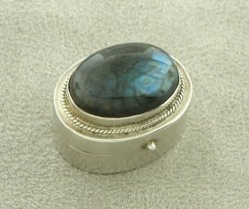 Vintage Sterling Silver Pill Or Snuff Box Labadorite