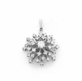 Vintage 14k W/ Gold Single Cut White Diamonds Pendant