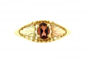New 10k Yellow/rose Gold Garnet Ladies Leaf Ring