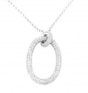 New 18k White Gold Diamond Oval Pave Necklace