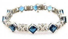 New 14k White Gold Diamond London Topaz Bracelet