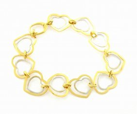 New 14k Two Tone Gold Ladies Heart Link Bracelet