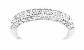 New 18k White Gold Filigree Diamond Wedding Band