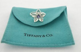 Tiffany & Co. Sterling Silver Iolite Flower Ring