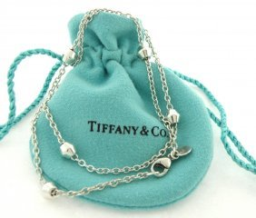 Tiffany & Co. Sterling Silver Barrel Station Necklace