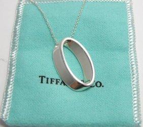 Tiffany & Co. Silver Fancy Oval Geometric Necklace