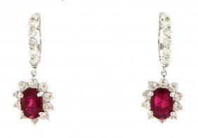 14k White Gold Diamond & Ruby Dangle Earrings 7.21ct
