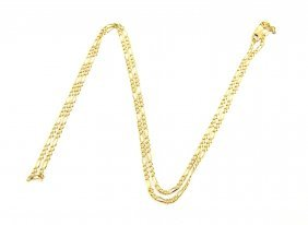 """New 14k Yellow Gold Chain, 22"""" Unisex Figaro Necklace"""