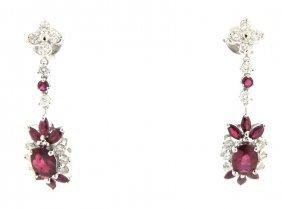 New 14k White Gold Diamond Ruby Cluster Earrings 4.05ct