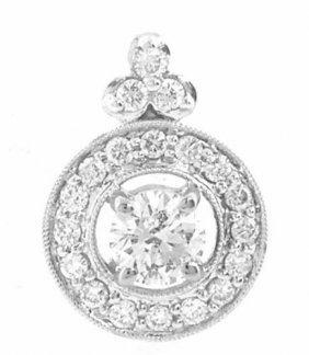 New 18k White Gold Diamond Solitaire Pendant