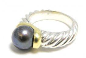 Authentic David Yurman 18k Silver Pearl Ring
