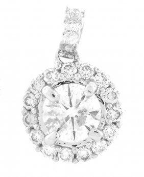 New 18k White Gold Diamond Solitaire Pendant 0.75ct