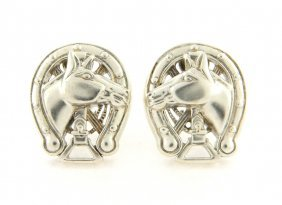 Kieselstein Cord Horse Shoe Clip On Earrings