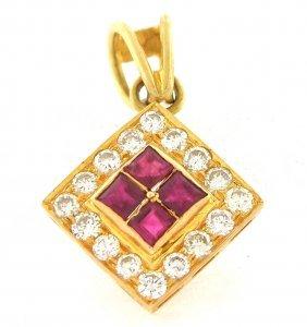 Estate 18k Yellow Gold Diamond Ruby Square Pendant