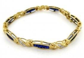 10k Yellow Gold Diamond Blue Sapphire Tennis Bracelet
