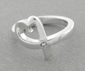 Tiffany & Co. Sterling Silver Loving Heart Diamond Ring