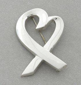 Tiffany & Co. Sterling Silver Large Loving Heart Brooch