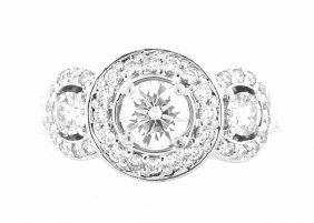 New Platinum Diamond Engagement Three Stone Ring