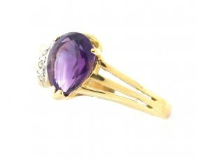 New 14k Yellow Gold Purple Amethyst Diamond Ladies Ring