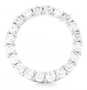 New 14k White Gold Diamond Circle Pendant G Vs