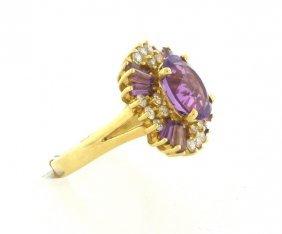 New 14k Yellow Gold Diamond & Natural Purple Ring