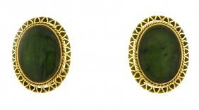 Vintage Estate 14k Yellow Green Jade Earrings Large