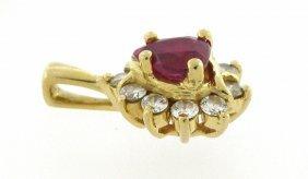 14k Yellow Gold Pear Shape Rubelite Diamond Pendant