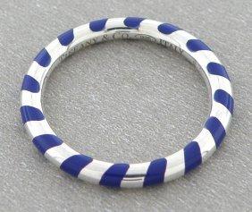 Tiffany & Co. Sterling Silver Blue Enamel Striped Ring