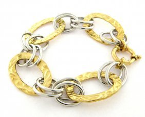 New 14k Two Tone Gold Ladies Large Oval Link Bracelet