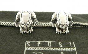 Kieselstein Cord Sterling Frog Toad Clip On Earrings