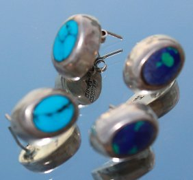 Vintage 2 Pair Silver Inlaid Turquoise Earrings